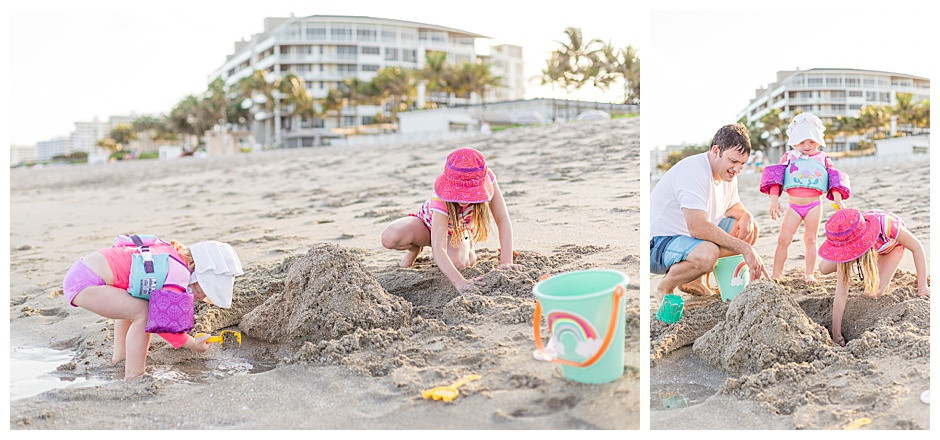 young kids building sand castle, lifestyle family photographer chattanooga