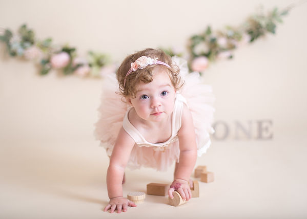 baby girl in tutu, cake smash photographer Chattanooga