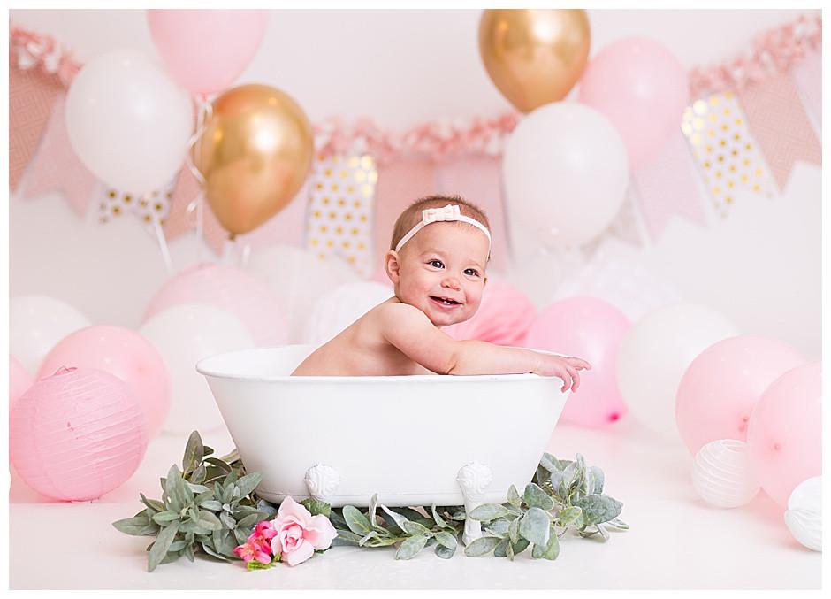happy baby, white tub, cake smash photographer chattanooga