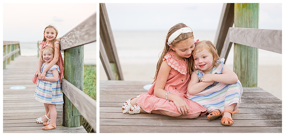 sisters on beach dock, East Ivy Photography, family photographer chattanooga
