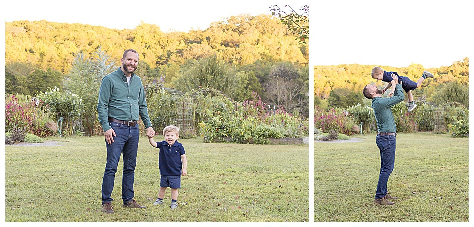family photographers Chattanooga, outdoor fall photos, father and son, yellow trees