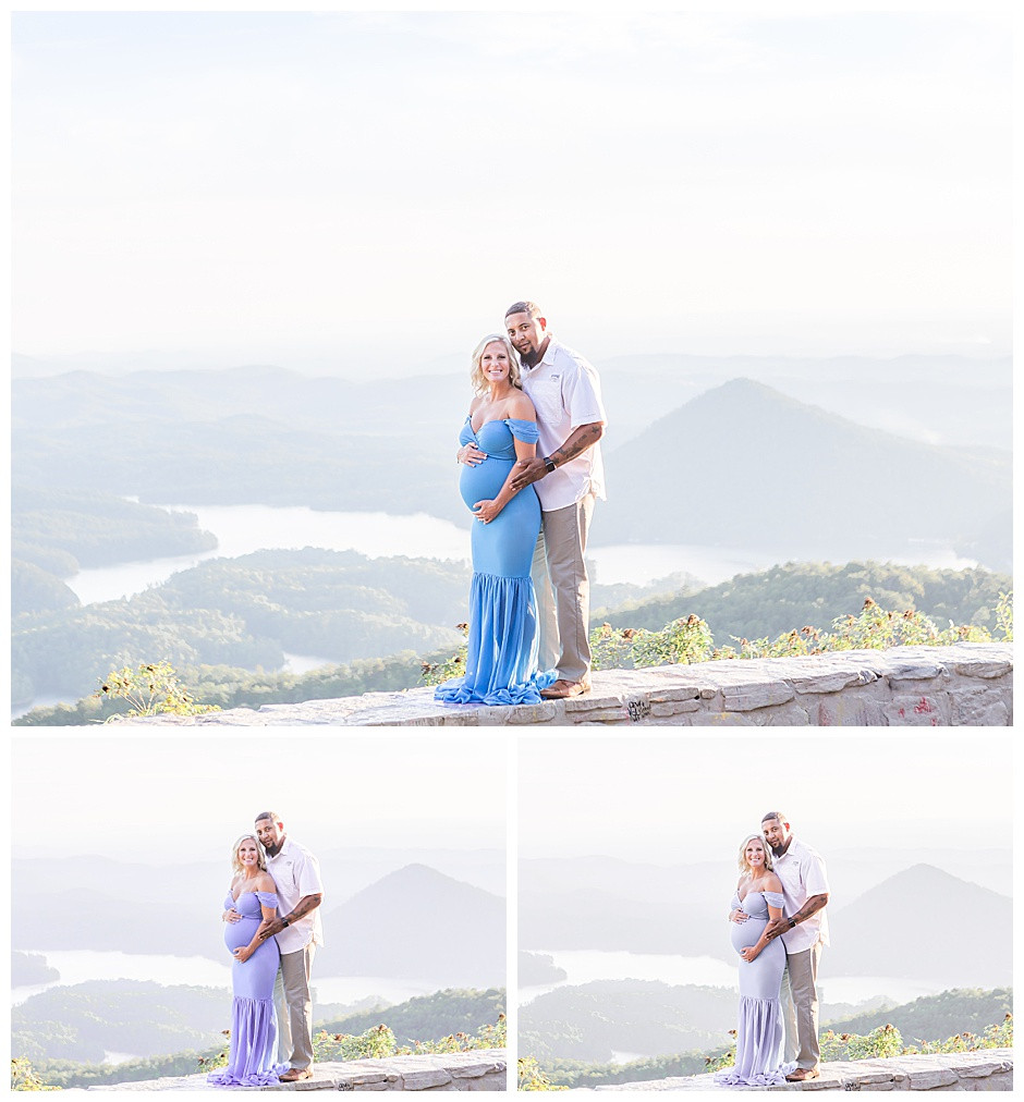 Chattanooga Maternity Photographer East Ivy Photography at Ocoee River, Chattanooga maternity photos, couples portrait, mountain vista, East Ivy Photography, Cleveland TN Maternity photographer, blue mermaid maternity gown, september in Tennessee
