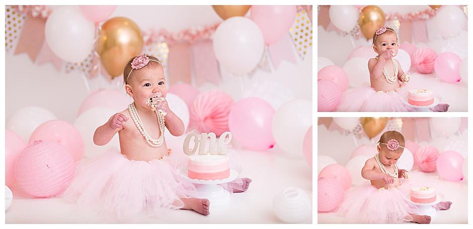 pink and gold cake smash, chattanooga cake smash photographer