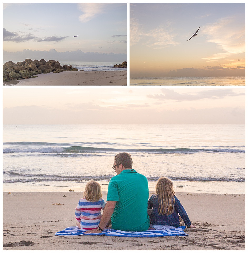 dad with daughters, beach, family photographer chattanooga
