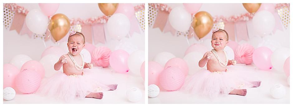 sad baby, pink balloons, chattanooga cake smash photographer