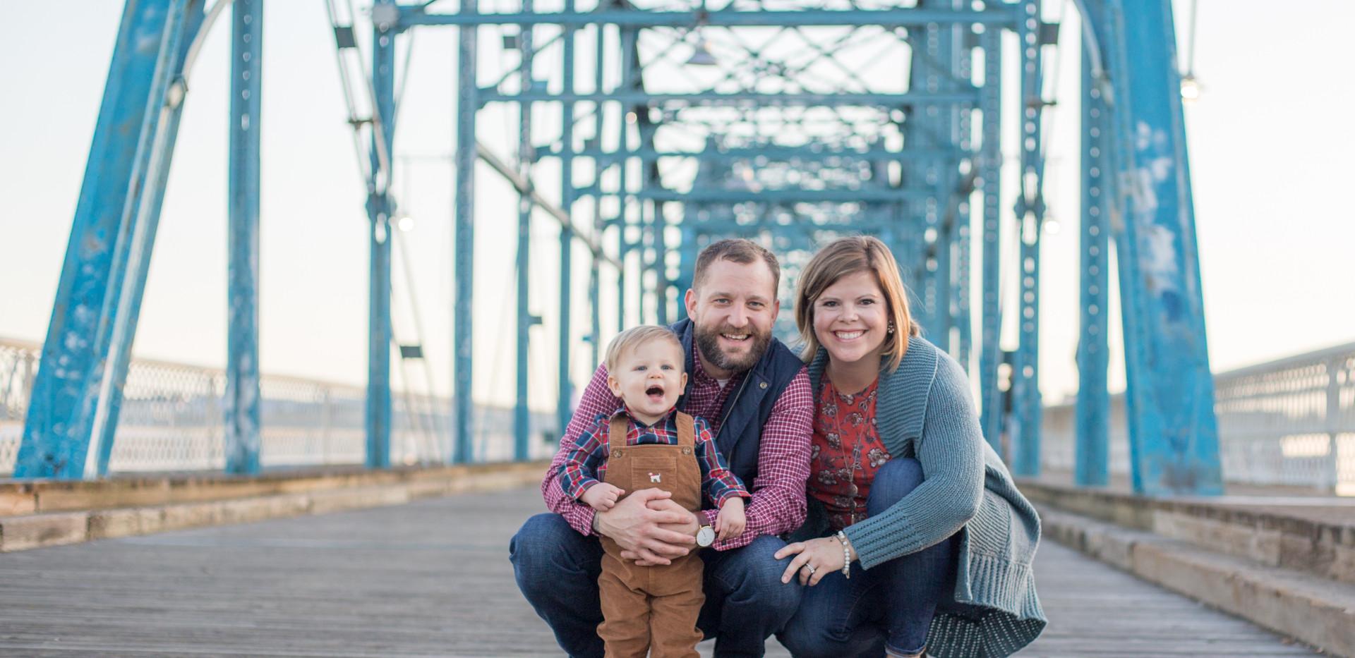 young family Walnut Street Bridge, Chattanooga family photographer