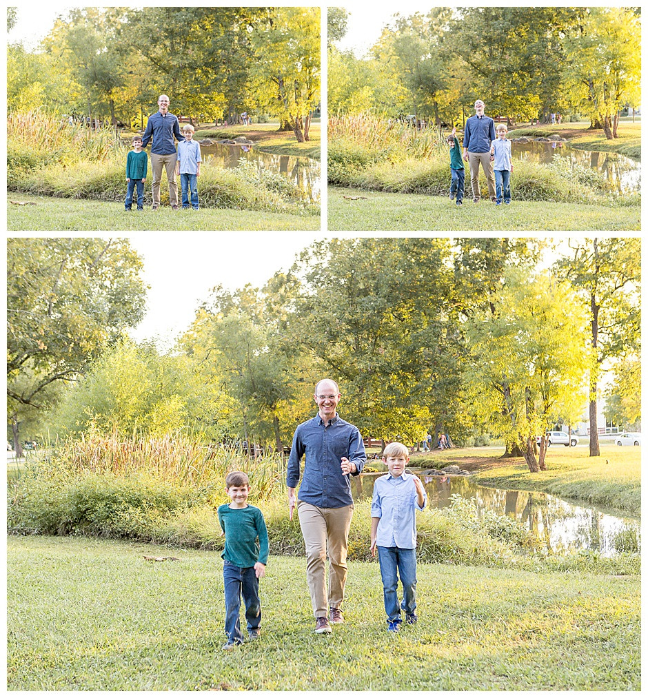 fall photo ideas Chattanooga, dad with sons, trees, family photographer Chattanooga