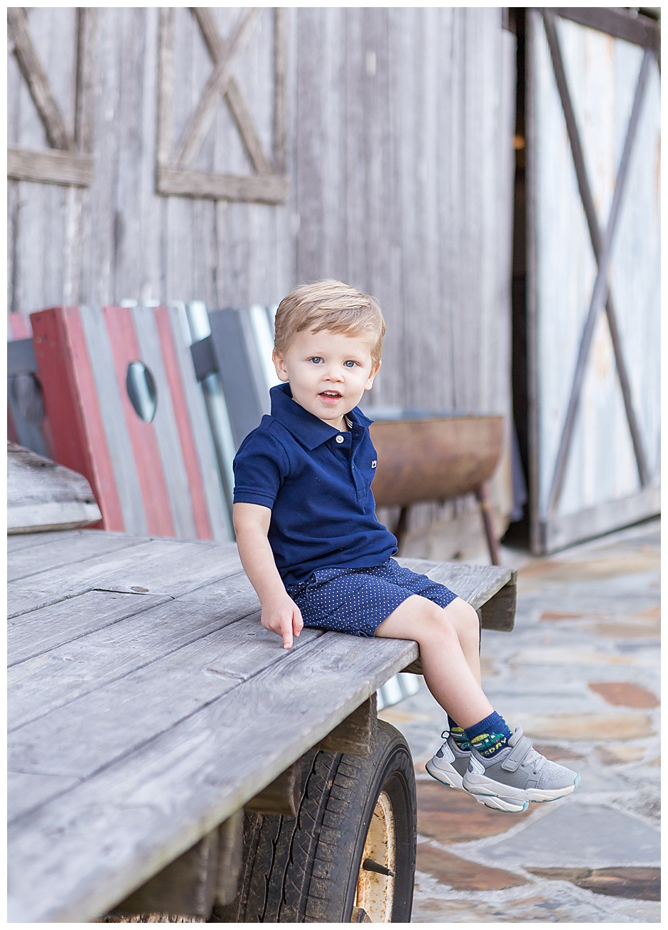 toddler boy at barn at High Point, Flintstone Georgia, family photographer Chattanooga
