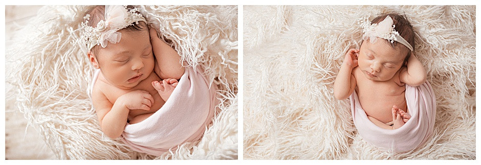 newborn baby on fur, Chattanooga studio newborn photographer