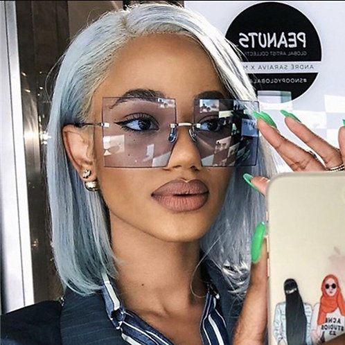2020 Fashion Big Rimless Sunglasses Women Vintage Trendy Luxury Brand Design