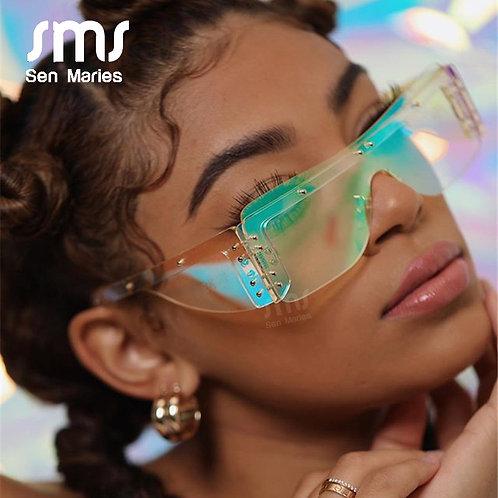 Fashion Rimless Square Sunglasses Women 2020 Luxury Brand