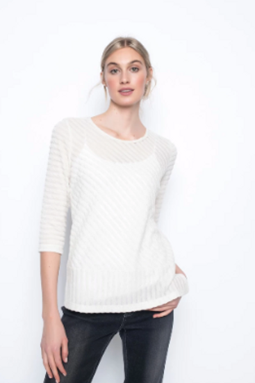 Picadilly 3.4 Sleeve Top With Side Slits Eggshell ZF 229