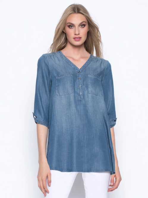 Picadily V-Neck Half Button Top, YM 180