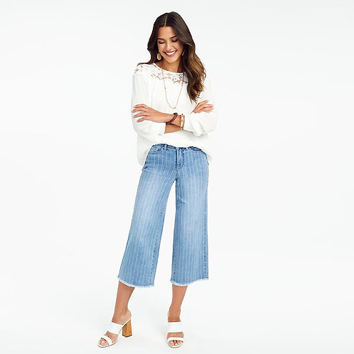 FDJ Olivia Wide Leg Striped Denim Crop