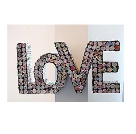 Repurposed Paper Love Sign