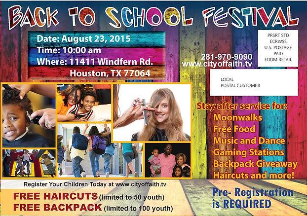 back to school, houston texas, free back pack, free hair cuts, city of faith church, pastor sabra