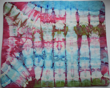 SMALL SHAMMY - BLUE PINK AND GREEN BUTTERFLY WINGS TIE DYE PRINT