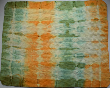 SMALL SHAMMY - GREEN ORANGE AND WHITE STRIPY TIE DYE PRINT