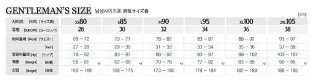 Korean swimwear men size chart