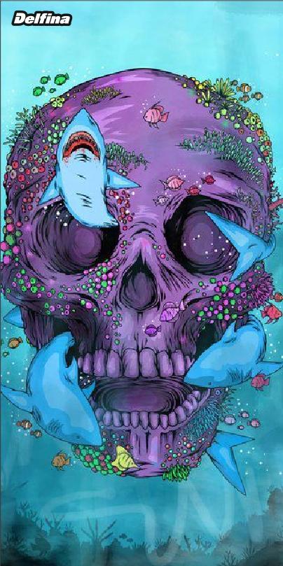 Purple skull quick dry Delfina swimming