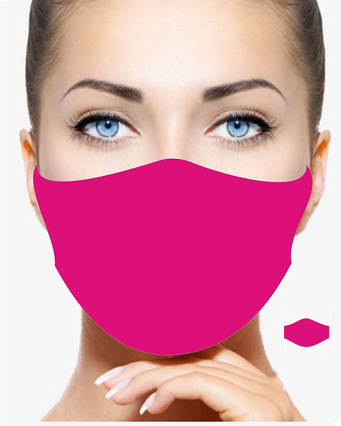 FLUORESCENT PINK REUSABLE & WASHABLE FACE MASK TRIPLE LAYER