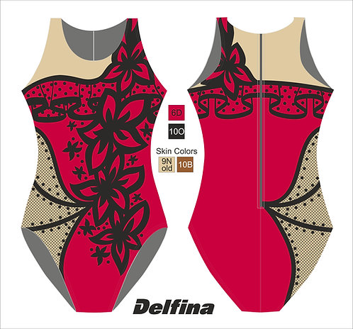 FLAMENCO DELFINA SYNCHRO ZIPPERBACK SWIMSUIT