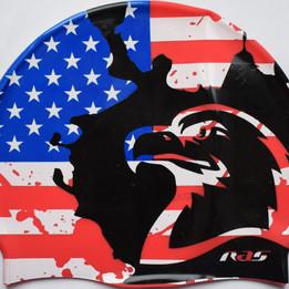 Ras Silicone Suede Swim Cap USA flag