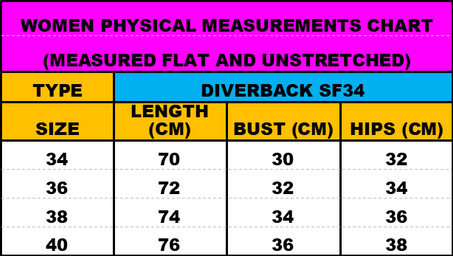 Diverback SF34 swimsuits measurements ch