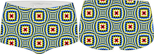 GREEN OPTICAL ILLUSION DELFINA AQUA SWIM SHORTS