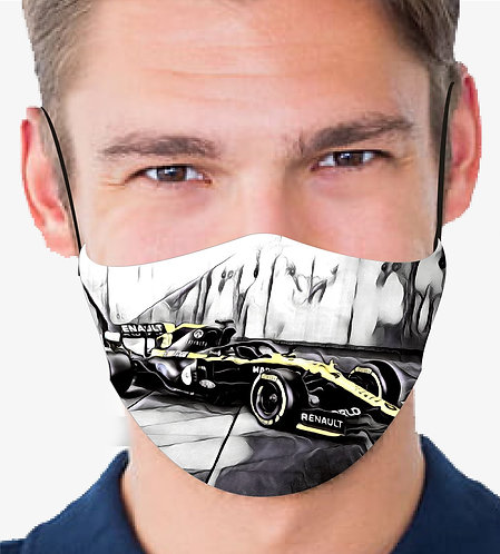 RENAULT F1 CAR V1 REUSABLE & WASHABLE FACE MASK + FILTER