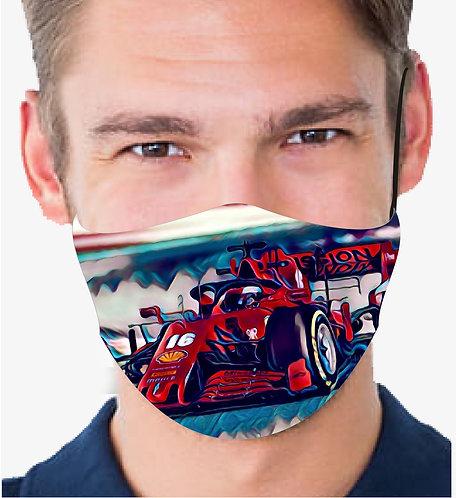 FERRARI LECLERC F1 CAR REUSABLE & WASHABLE FACE MASK + FILTER
