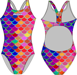 Rainbow Mermaid Delfina Bladeback Swimsu