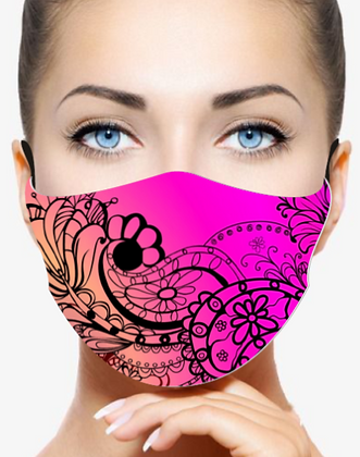 PINK PAISLEY REUSABLE & WASHABLE FACE MASKS + WASHABLE FILTER