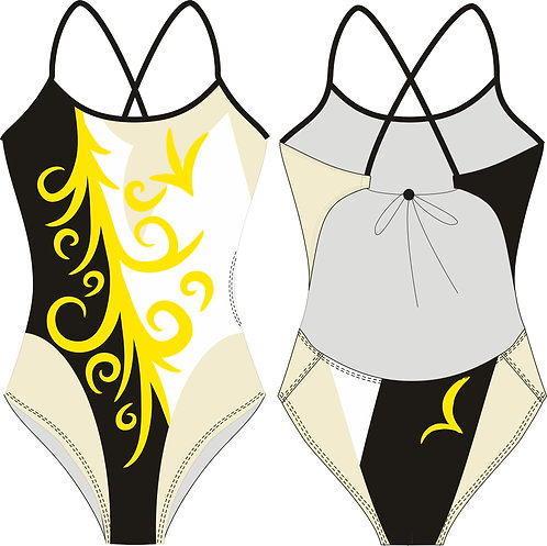 """GOLD SWIRLS"" DELFINA TIEBACK SWIMSUIT"