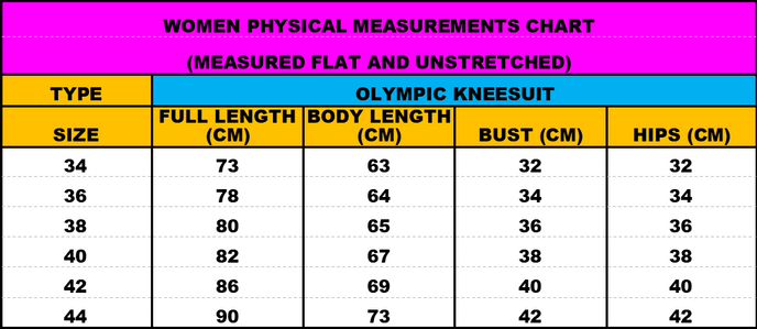 Olympic Kneesuits Measurements Chart
