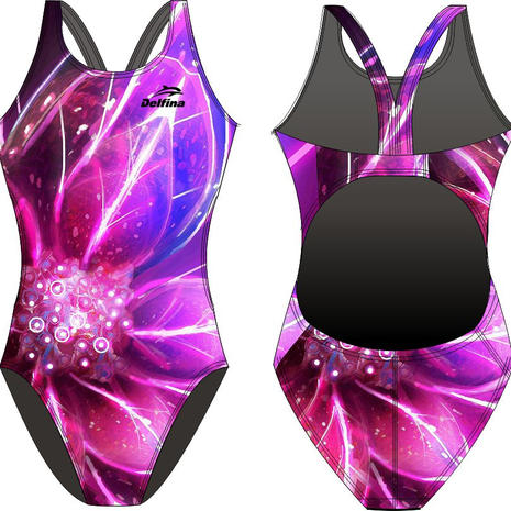 Abstract Flowers Delfina Bladeback Swimsuit