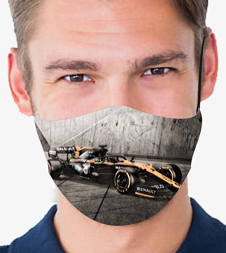 RENAULT RICCIARDO F1 CAR V2 REUSABLE & WASHABLE FACE MASK + FILTER