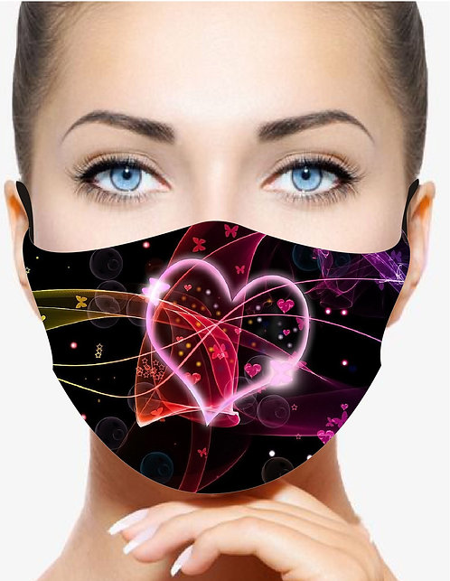 GLOWING HEART REUSABLE & WASHABLE FACE MASKS + WASHABLE FILTER