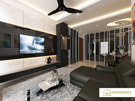 Gridwerkz Interior. EC Condo unit, the treasure crest. By designer, Gerald Chan, to give it a modern look using featured mirror walls, ceiling plans and choices of materials.