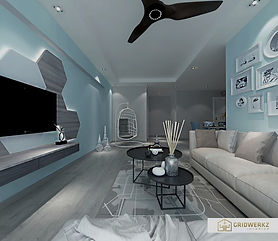 Project living design by Gridwerkz Interior. Lowest pricing in Singapore.