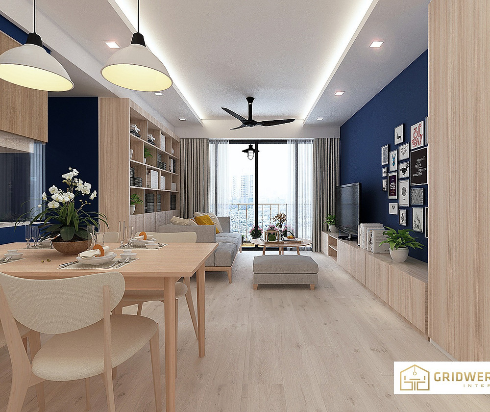 Muji theme living design with touch of blue for depth. Carpentry and flooring priced at only $3,800! Market pricing:$6,000!