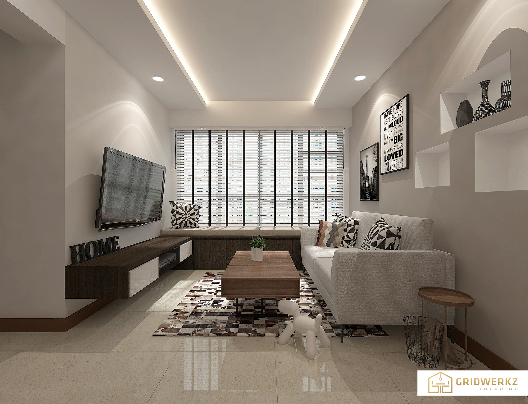 Project living design by Gridwerkz Interior.