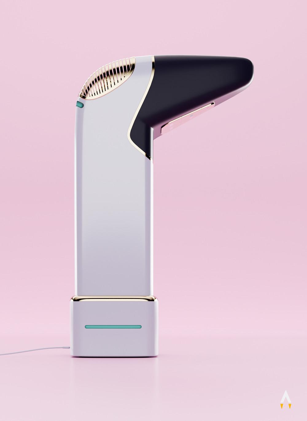 Ein futuristischer, akkubetriebener Haartrockner waagerecht in seiner Ladestation stehend.