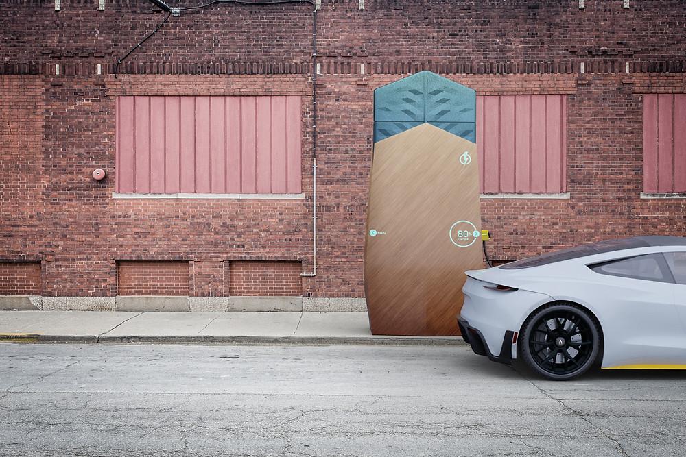 Abb. 1: 3D Visualisierung einer mobilen und infrastrukturunabhängigen Ladestation für E-Autos. © ZUMMARS