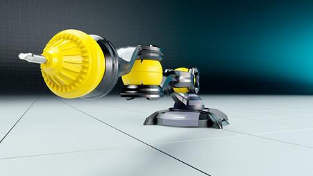 Industrie-Roboter in Ruheposition, Froschperspektive