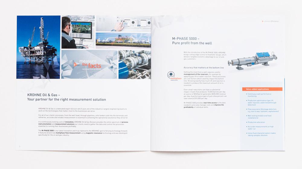 zu sehen ist die Innenseite einer Highlight-Broschüre für KROHNE Messtechnik
