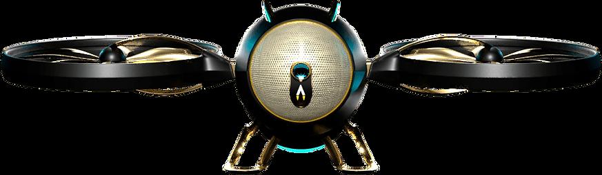 Fotorealistische 3D-Visualisierung einer futuristischen Drohne, in Mattschwarz und Gold gehalten