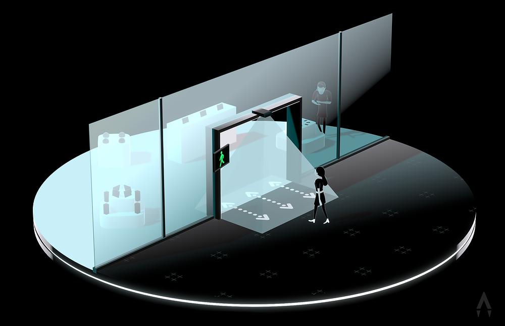 3D-Rendering in illustrativer Stilistik – Zu sehen ist eine angedeutete Ladeneingangssituation. Die Kundenampel von GECK steuert den Einlass von Kunden.