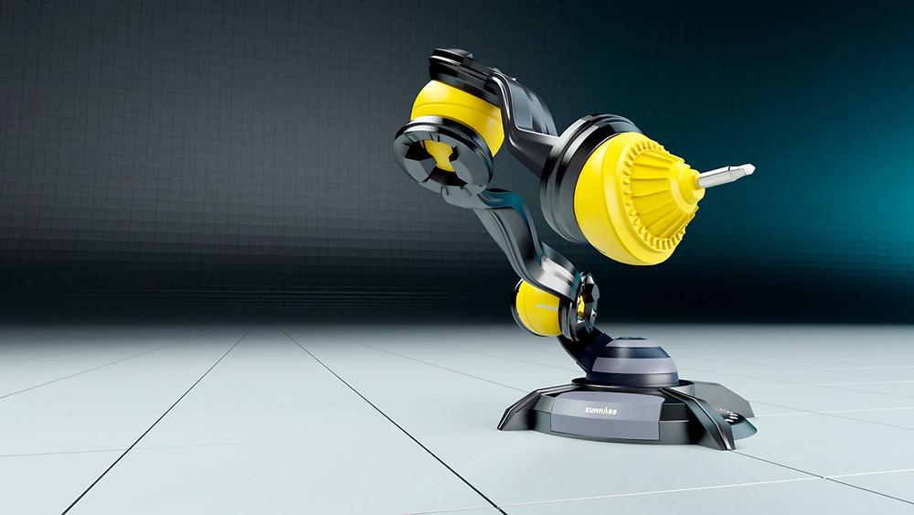 Zu sehen ist eine fotorealistische 3D Visualisierung eines Industrie-Roboters
