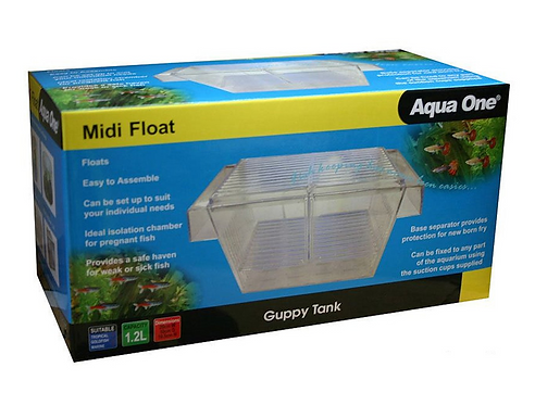 Buy Aqua One Guppy Breeding Tank Mini Float 16 x 8 x 7.5cm From Fishy Biz South Australia | Marine Tropical Freshwater tanks